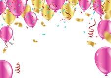 С днем рождения дизайн вектора оформления для поздравительных открыток и p иллюстрация вектора