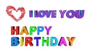 С днем рождения, иллюстрация 3D Стоковое фото RF