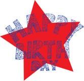С днем рождения искусство Doodle с предпосылкой звезды бесплатная иллюстрация
