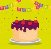 С днем рождения карточка торжества с сладостными тортом и гирляндами Стоковая Фотография