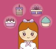 С днем рождения с маленькой девочкой и установленными значками иллюстрация штока