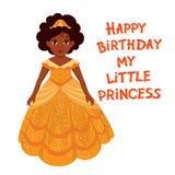 С днем рождения милая fairy девушка с темной кожей Стоковая Фотография