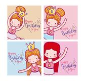 С днем рождения с милой карточкой артистов балета иллюстрация штока