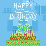 С днем рождения открытка торта th 26 старая розовая - литерность руки - handmade каллиграфия стоковая фотография rf