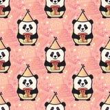 С днем рождения партия панды безшовная вектор Стоковые Изображения RF