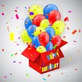 С днем рождения плакат с confetti и воздушные шары образовывают летание от открытой красной коробки также вектор иллюстрации прит иллюстрация вектора