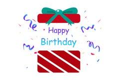 С днем рождения, подарок, партия confetti сюрприза, бумага украшения иллюстрация штока