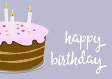 С днем рождения поздравительная открытка с иллюстрацией именниного пирога Стоковая Фотография