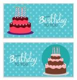 С днем рождения предпосылка плаката с тортом также вектор иллюстрации притяжки corel Стоковые Изображения