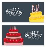 С днем рождения предпосылка плаката с тортом также вектор иллюстрации притяжки corel Стоковая Фотография RF
