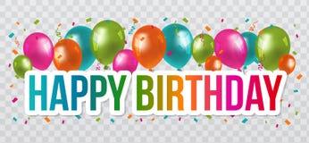 С днем рождения приветствия с дизайном и воздушными шарами литерности предпосылка прозрачная бесплатная иллюстрация