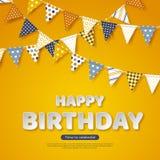 С днем рождения приветствовать дизайн Письма стиля отрезка бумаги белые и флаги овсянки с различными красочными картинами yellow Стоковое Изображение RF