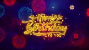 С днем рождения 2019 приветствуя частиц искры текста на покрашенных фейерверках