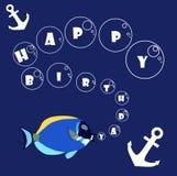 С днем рождения с рыбами и анкером Иллюстрация вектора