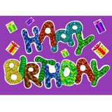 С днем рождения слова установленные для поздравительной открытки Стоковые Изображения