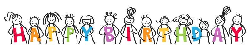С ДНЕМ РОЖДЕНИЯ, усмехаясь группа в составе диаграммы ручки держа красочные письма иллюстрация вектора