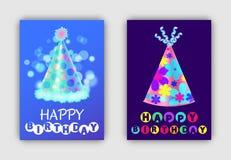 С днем рождения установленная открытками иллюстрация вектора бесплатная иллюстрация