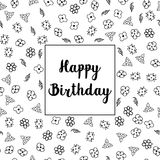 С днем рождения флористический дизайн поздравительной открытки Стоковые Изображения