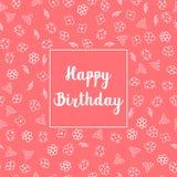 С днем рождения флористический дизайн поздравительной открытки Стоковые Фотографии RF