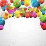 С днем рождения цвета лоснистые раздувают иллюстрация вектора предпосылки знамени Стоковые Фото