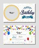 С днем рождения шаблон карточки приглашения, иллюстрация вектора предпосылки вечеринки по случаю дня рождения стоковые фото