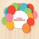 С днем рождения шаблон поздравительной открытки с белой круглой рамкой Воздушные шары отрезка бумаги летания на голубой предпосыл бесплатная иллюстрация