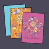 С днем рождения vector поздравительная открытка с абстрактными птицами и цветками doodle Стоковое Фото