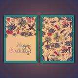 С днем рождения vector поздравительная открытка с абстрактными цветками doodle Стоковая Фотография RF