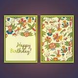 С днем рождения vector поздравительная открытка с абстрактными цветками doodle Стоковые Фотографии RF