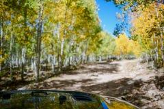 С дороги управляя в виллисе в плоских верхних частях, Колорадо Стоковая Фотография RF