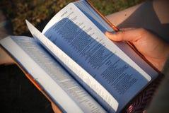 Слегка ударять страницы библии стоковые фотографии rf