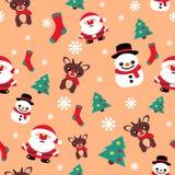 Сделайте по образцу безшовную текстуру с северным оленем рождества снеговика и s Стоковое Изображение