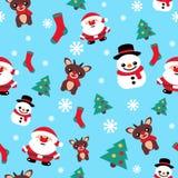 Сделайте по образцу безшовную текстуру с северным оленем рождества снеговика и s Стоковая Фотография RF