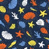 сделайте по образцу безшовные seashells Стоковые Изображения