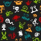 Сделайте по образцу цвет безшовного вируса бактерий UFO извергов текстуры полный Стоковые Фото