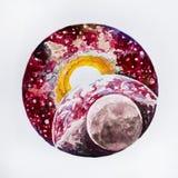 Сделайте эскиз к земле и солнцу планеты на белой предпосылке иллюстрация штока