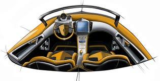 Сделайте эскиз к дизайну современного схематического интерьера автомобиля coupe спорт иллюстрация Стоковое Изображение