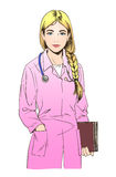 Сделайте эскиз к иллюстрации доктора молодой женщины или nusce Стоковые Изображения