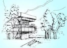 Сделайте эскиз к иллюстрации дома архитектуры Стоковое Изображение RF