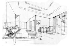 Сделайте эскиз к комнате кровати перспективы внутренней, черно-белому дизайну интерьера Стоковое фото RF