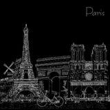 Сделайте эскиз к плакату стиля с символами и ориентир ориентирами Парижа черная белизна иллюстрация штока