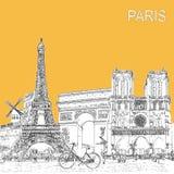Сделайте эскиз к плакату стиля с символами и ориентир ориентирами Парижа иллюстрация вектора