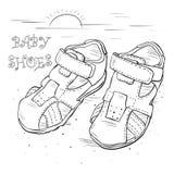 Сделайте эскиз к сандалиям ` s детей для мальчика иллюстрация вектора