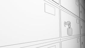 Сделайте эскиз к строкам сейфов и введенного ключа с биркой перевод 3d Стоковые Изображения
