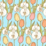 Сделайте эскиз к тюльпану и орхидее, винтажной безшовной картине Стоковое Изображение RF