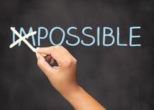 Сделанная невозможная почерка доски мотивационная возможной Стоковое фото RF