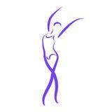 Сделанная эскиз к танцуя женщина Стоковое Изображение RF