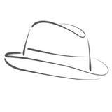 Сделанная эскиз к шляпа fedora человека s Стоковые Изображения