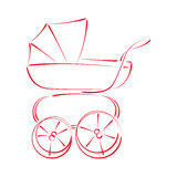 Сделанное эскиз к багги детской сидячей коляски Стоковая Фотография