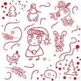Сделанные эскиз к рукой doodles зимы иллюстрация вектора